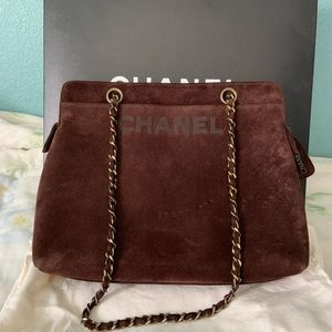 Chanel vintage suede brown tote hand bag